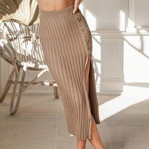 Khaki Rib Knit High Slit Buttoned Midi Skirt